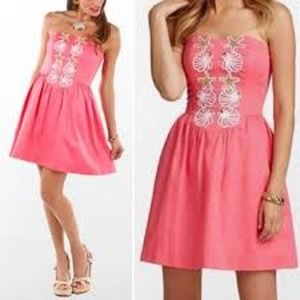 """Lilly Pulitzer Coral """"Mayfield"""" Strapless Dress"""